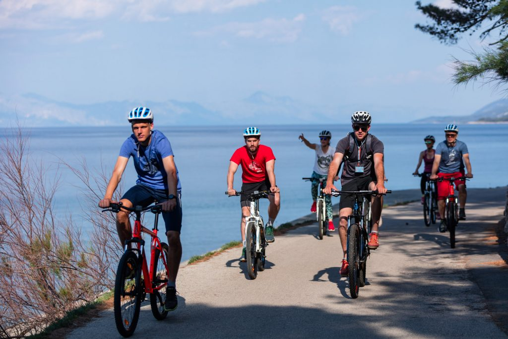 Riding the coastline on the cycling path along the Adriatic coast and enjoying the cool shade of the pine trees and their delicious smell.