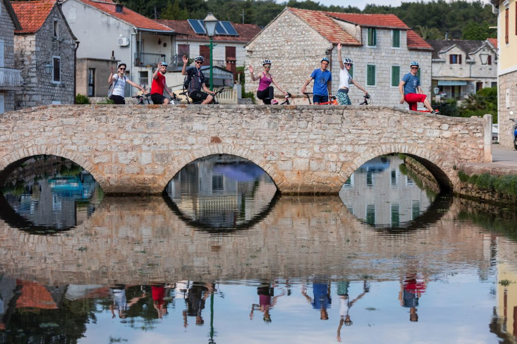 Vrboska bridges are good place for photo shooting and relaxing walk along the canal to rest yourself from the cycling.