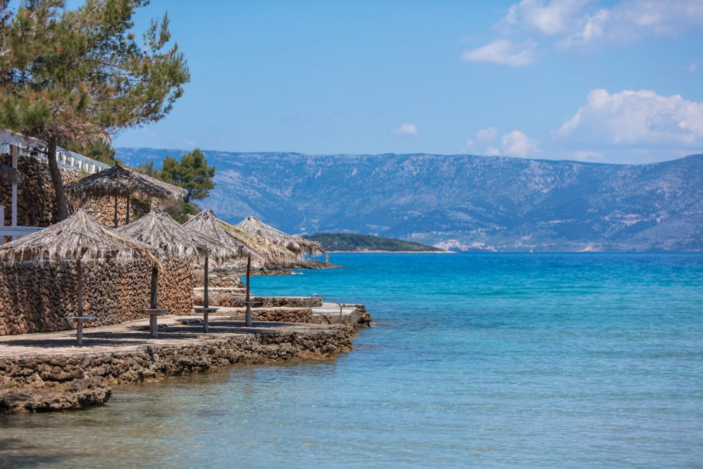 Mina and Grebisce bays are very popular family beaches, with it's sandy base in the near Jelsa vicinity.
